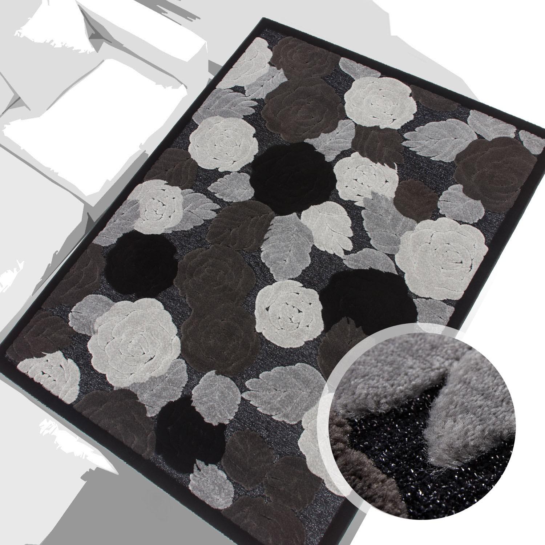 Teppich Modern Wohnzimmer Jemila 3D Acryl Glitzer Blume Grau Schwarz Creme
